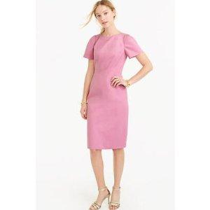 Gathered-sleeve dress in bi-stretch cotton