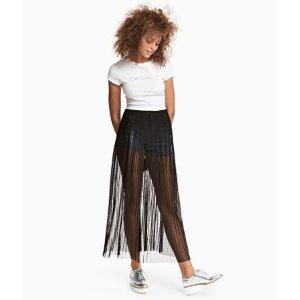 Pleated Mesh Skirt | Black | Women | H&M US