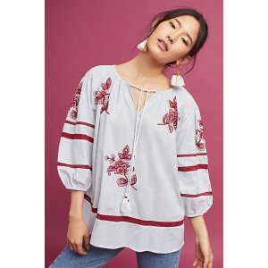 Ola Embroidered Peasant Top