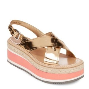 $539.99(原价$830)包邮Prada 金色厚底凉鞋