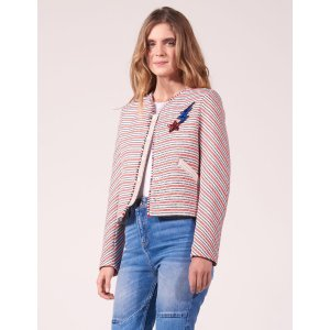 Striped Jacket With Sequinned Patches