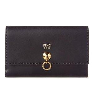 FENDI Stud & Ring Slim Leather Continental Wallet