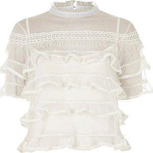 White dobby mesh frill layer turtleneck top - blouses - tops - women