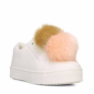 SAM EDELMAN Leya Faux Fur-Accented Leather Sneakers