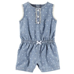 Baby Girl Chambray Polka Dot Romper | Carters.com