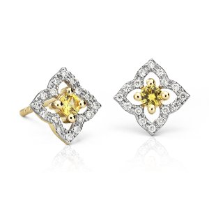 Petite Yellow Sapphire Floral Stud Earrings in 14k Yellow Gold (2.4mm) | Blue Nile