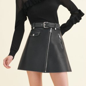 JOUKI Leather A-line skirt