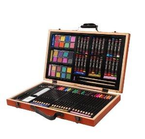 秒杀价$11.99(原价$39.99)Darice 豪华80件画笔等绘画用品木盒套装