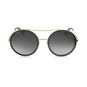 Gucci GG0061S Acetate and Gold Metal Round Aviator Women's Sunglasses