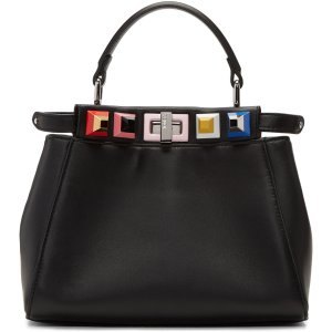 Fendi: Black Mini Rainbow Peekaboo Bag | SSENSE