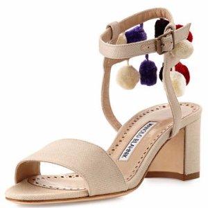 Manolo Blahnik Pompom Linen Block-Heel Sandal