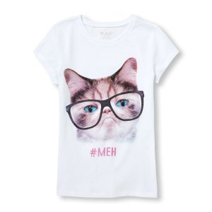 Girls Short Sleeve 'Meh' Glasses Cat Graphic Tee | The Children's Place