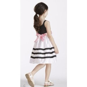 Black and White Striped Gown with Sash