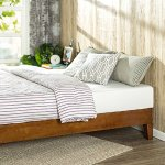 Zinus 12 Inch Deluxe Wood Platform Bed / Wood Slat support / Cherry Finish, Queen