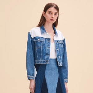 VALDA Two-tone denim jacket - Coats & Jackets - Maje.com