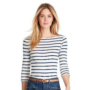 Striped Cotton Boatneck Tee - New Arrivals � Women - RalphLauren.com