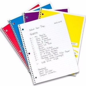 $1.00Mead Spiral Notebook 1-Subject, 70-Count, Wide Ruled, COLOR WILL VARY, 4 Pack