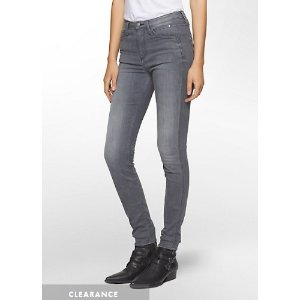 CALVIN KLEIN JEANS SCULPTED FADED GREY SKINNY JEANS