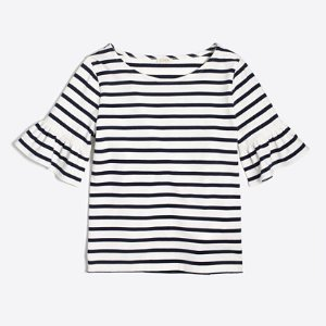Striped ruffle-sleeve T-shirt : Knits & T-Shirts | J.Crew Factory