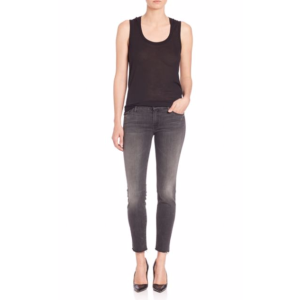 MOTHER - Grey Looker Ankle Fray Jeans - saksoff5th.com