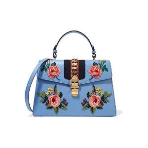 Gucci | Sylvie medium chain-embellished appliquéd leather tote