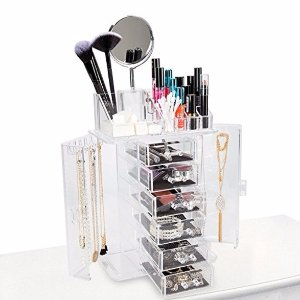 ClosetMate Clear Acrylic Jewelry Makeup Organizer Set