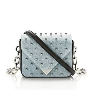 MINI PRISMA ENVELOPE SLING IN STUDDED DENIM WITH CHAIN STRAP