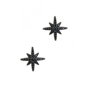 Black star crystal-embellished sterling silver earrings