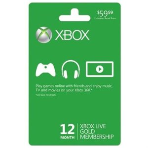 $4012-Month Xbox Live Gold Membership Card