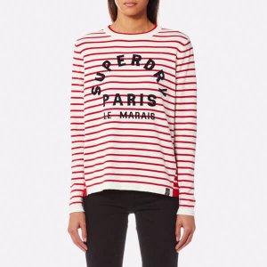Superdry Women's Le Marais Stripe Knitted Top - Deep Red/Cream