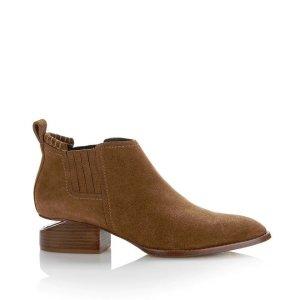 Alexander Wang早秋新款棕色麂皮断跟靴