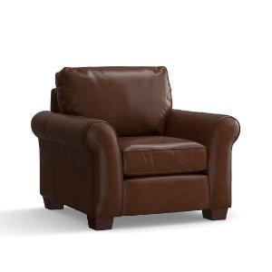 PB Comfort Roll Arm Leather Armchair | Pottery Barn