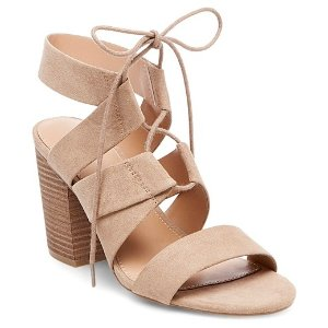 Women's Harriet Lace Up Heeled Quarter Strap Sandals - Merona™ : Target