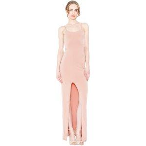 Rose Tan Addie High Slit Fitted Dress | Alice + Olivia