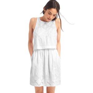 Layered embroidery sleeveless dress | Gap