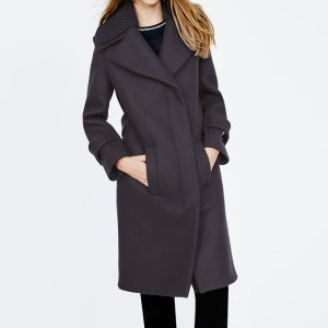 GERMINAL Long coat with double knit collar - Coats & Jackets - Maje.com