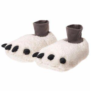 小编推荐:3d立体形状的毛绒熊爪拖鞋,非常可爱,穿着还保暖,脚踝处