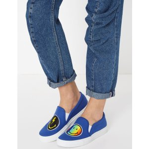 Blue Rainbow Smile Slip-On Sneakers | Joshua Sanders | Avenue32