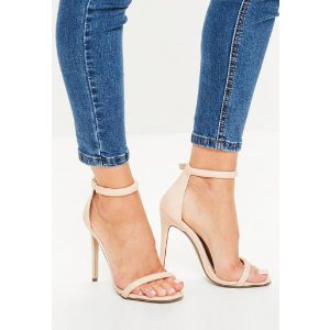 Missguided - Nude Patent Rounded Strap Barely There Heels