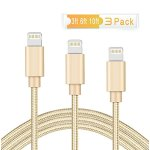 M-Better 3Pcs 3ft 6ft 10ft Nylon Braided Charging Cord, Charger Cable for iPhone 6S 6S Plus 6 SE 5S 5C 5 7 7 Plus iPad Air Mini iPod and More (Gold)