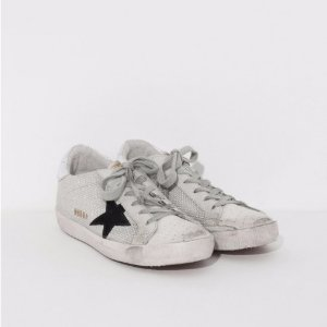Golden Goose Superstar Sneakers in White Cord and Silver Lurex | The Dreslyn