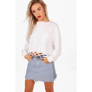 Helen Contrast Fray Hem Micro Denim Mini Skirt | Boohoo