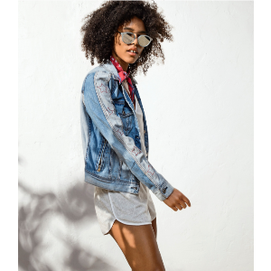 AEO Star Sleeve Jean Jacket, Blue | American Eagle Outfitters