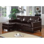 Vogue Bonded Leather Reversible Chaise Sectional Sofa, Brown