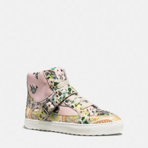COACH: C203 In Floral Print With Studs