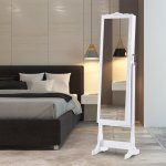 LANGRIA Lockable Mirrored Jewelry Cabinet with LED Lights