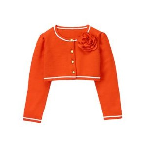 Baby Girl Candy Red Cropped Rose Cardigan at JanieandJack
