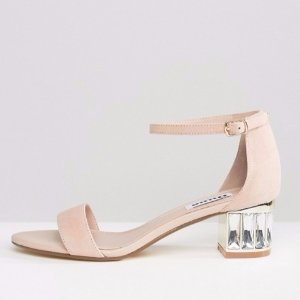 低至$61 (原价$130) 收Miu Miu风Dune London水晶跟凉鞋