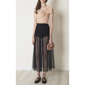 One Shoulder Point D'Esprit And Tulle Top | Moda Operandi