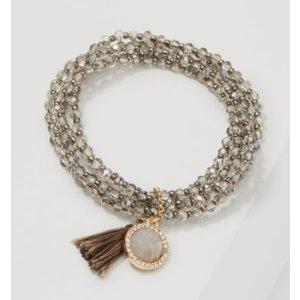 Tasseled Beaded Stretch Bracelet | LOFT